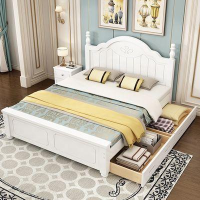 实木床现代简约主卧双人床北欧家用欧式床韩式田园单人床带抽屉