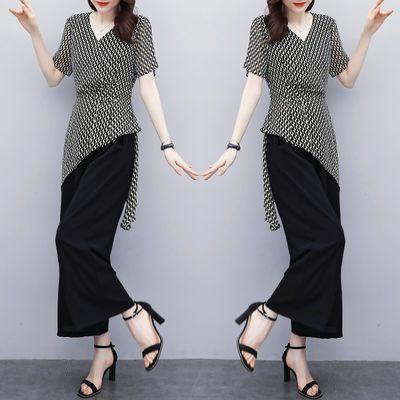 实拍2020夏新款大码女装胖mm洋气收腰显瘦阔腿裤套装两件套