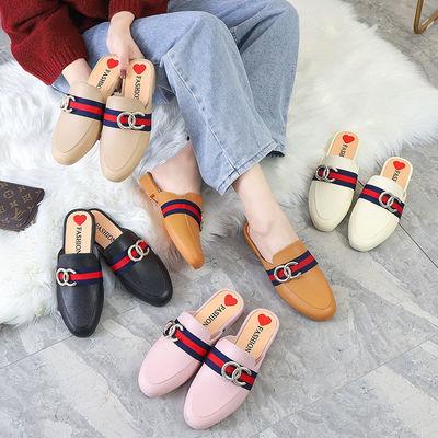 拖鞋女夏外穿2020新款网红包头半拖鞋韩版学生平底休闲防滑凉拖鞋