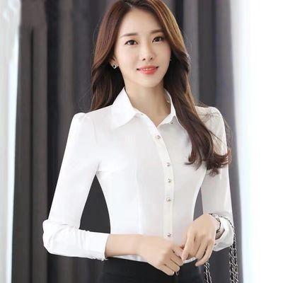 韩版2020春秋新款宝蓝色洋气衬衫女长袖气质修身百搭衬衣职业正装