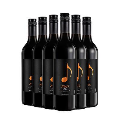 澳大利亚原装进口葡萄酒橙音符经典系列梅乐半干红葡萄酒750mlX6