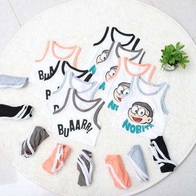 中小童宝宝夏季2020新款卡通字母无袖背心两件套 套装