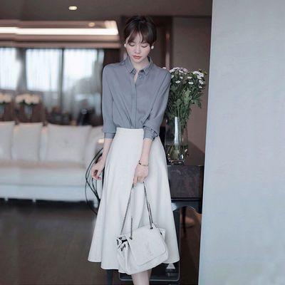 2020夏季新款浅调色人字纹半身裙女高腰中长款显瘦气质撒摆A字裙