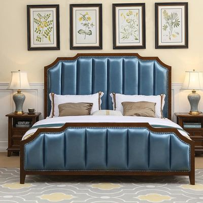 美式床实木床1.8米双人床现代简约欧式床1.5米真皮网红床主卧家具
