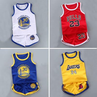 男童背心套装新款篮球服女童速干运动服夏儿童无袖短裤宝宝两件套
