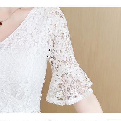 白色连衣裙女仙气质夏天超仙女长裙淑女中长款女神范蕾丝大摆裙子