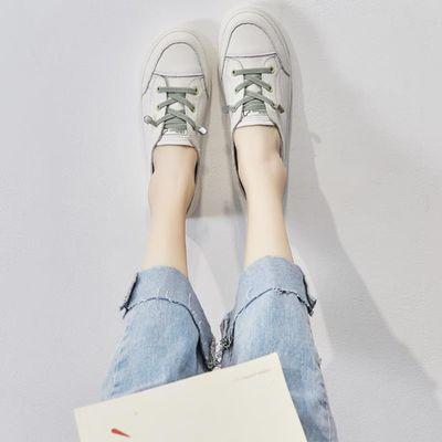 真皮小白鞋女夏季2020新款休闲百搭一脚蹬懒人鞋春季薄款浅口单鞋