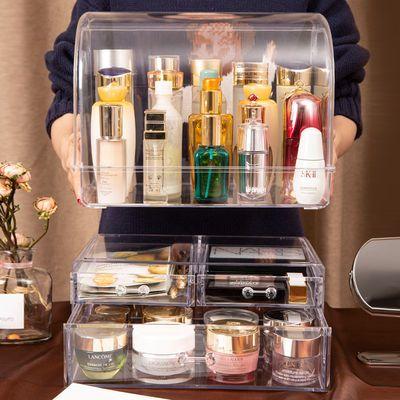 化妆品收纳盒桌面亚克力护肤品储物柜抽屉口红化妆刷口罩整理收纳
