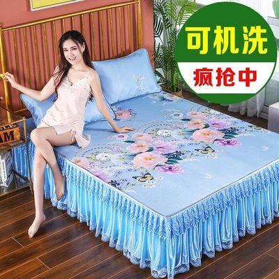 凉席冰丝席床裙款三件套1.8米床夏季折叠可机洗夏天席子1.5米0.9m