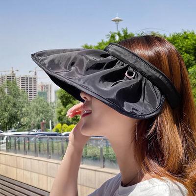 韩版贝壳帽网红发箍大檐女夏季户外纯色防紫外线遮阳帽户外空顶帽