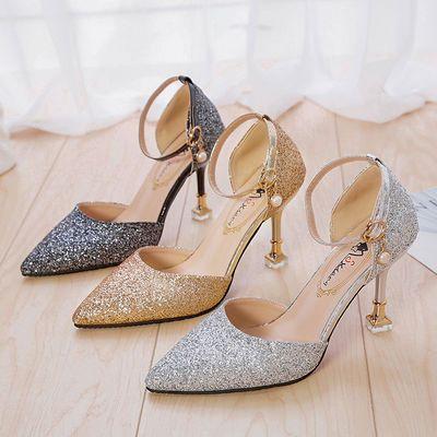 2020新款凉鞋女夏季高跟鞋女细跟韩版百搭网红一字扣亮片包头单鞋