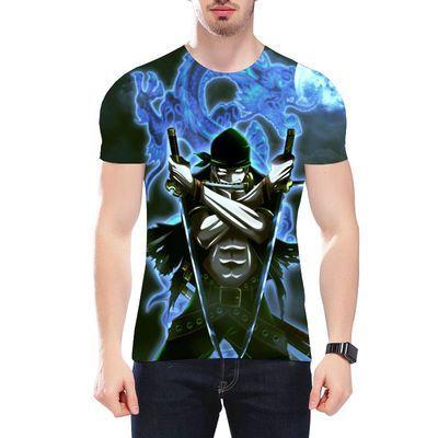 新款海贼王T恤短袖3D印花夏男青少年中学生卡通动漫航海路飞衣服