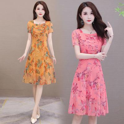 中年妈妈装连衣裙2020夏季新款高贵洋气阔太太气质显瘦雪纺连衣裙