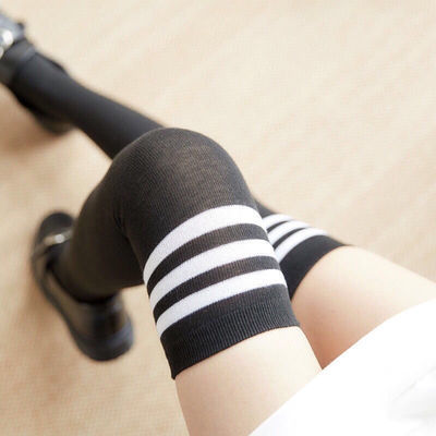 新款包邮三杠条纹长筒袜棉袜女过膝黑白纹学生袜子中长丝袜足球袜
