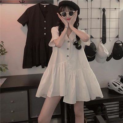 夏季韩版2020新款ins宽松不规则设计感荷叶边V领短袖连衣裙女装潮