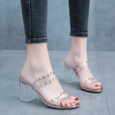 水晶性感露趾凉鞋女夏新款网红仙女风百搭透明外穿凉拖粗跟高跟鞋