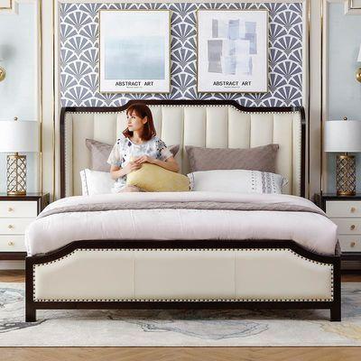 美式轻奢全实木床真皮公主双人床1.8米主卧大床极有家北欧现代