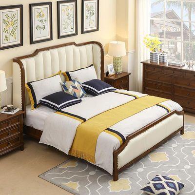 美式轻奢床实木床主卧1.8米双人床后现代简约真皮床婚床
