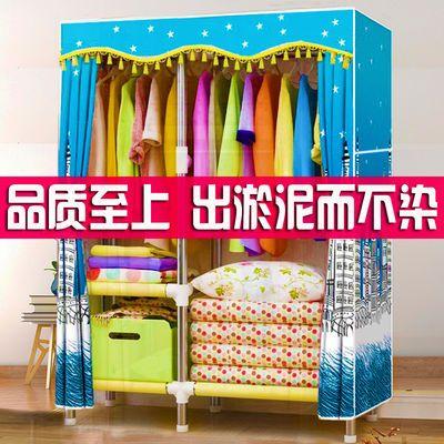 简易衣柜钢管加粗加厚特价家用挂衣柜不锈钢布衣柜双人全钢架棉布