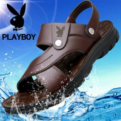 花花公子凉鞋男真皮牛皮男士夏季新款韩版学生沙滩鞋防滑凉拖鞋男