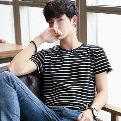 男士夏季短袖条纹t恤圆领半袖黑白条男上衣弹力修身韩版细条纹男T