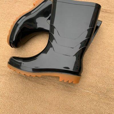 新款牛筋底防滑男雨鞋胶鞋中高筒雨靴加厚面水鞋工地劳保洗车水靴