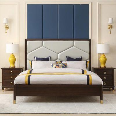 美式轻奢全实木床后现代主卧真皮床简约双人床婚床白蜡木家具1.8