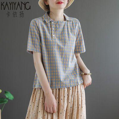 文艺复古格子短袖t恤女2020夏季新款韩版宽松显瘦翻领体恤上衣潮