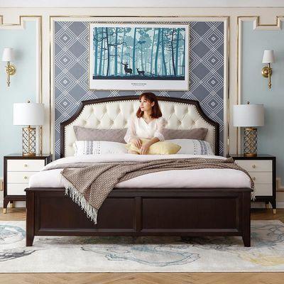 美式轻奢全实木真皮软包床主卧公主双人大床1.5米美式床现代简约