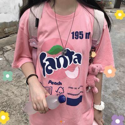 西米克19ss糖果粉色短袖潮牌复古嘻哈男女情侣同款宽松休闲T恤女