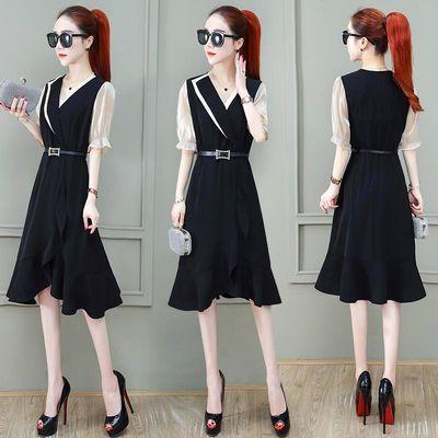 连衣裙女2020夏季新款气质短袖V领收腰显瘦不规则荷叶边轻熟风潮