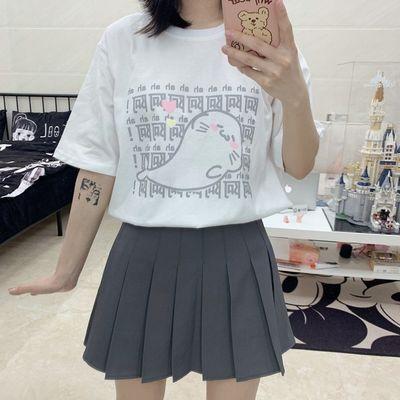 古屋兔丸可爱鲸鱼印花t恤日系软妹白色宽松圆领短袖古着感上衣女