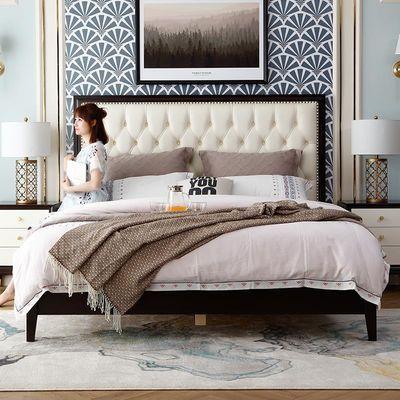美式床轻奢全实木床真皮靠背主卧双人大床1.5米公主床现代简约