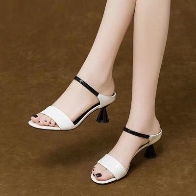 真漆皮凉鞋女时尚韩版高跟鞋外穿细跟拖鞋2020新款夏季百搭鞋子女
