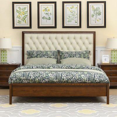 美式床全实木主卧双人床简美乡村家具皮床1.5米高箱床公主婚床