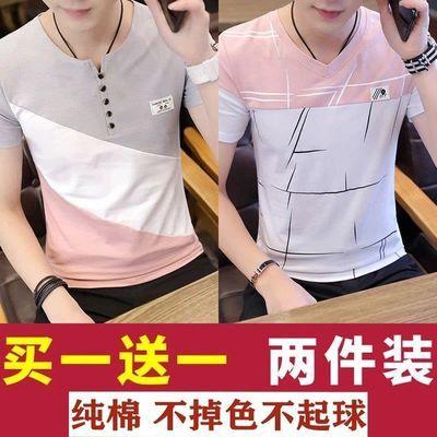 2020夏季纯棉短袖t恤男潮牌半袖上衣服男士体恤V领薄款男装打底衫