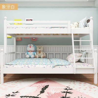 美式实木子母床高低床组合双层床上下床白蜡木男孩女孩儿童床挂梯