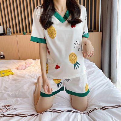 夏季睡衣女短袖冰丝套装仿真丝绸韩版学生少女可爱公主甜美家居服