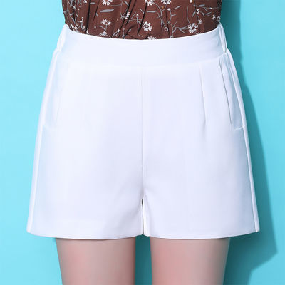 雪纺西装短裤女夏季2020新款白色高腰显瘦百搭宽松大码a字阔腿裤