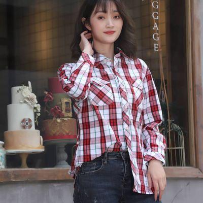 2020新款纯棉休闲格子衬衫女款经典格子衬衫小清新防晒长袖短袖