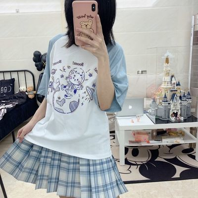 古屋兔丸星球猫可爱撞色插肩袖T恤日系软妹学院风短袖学生上衣女