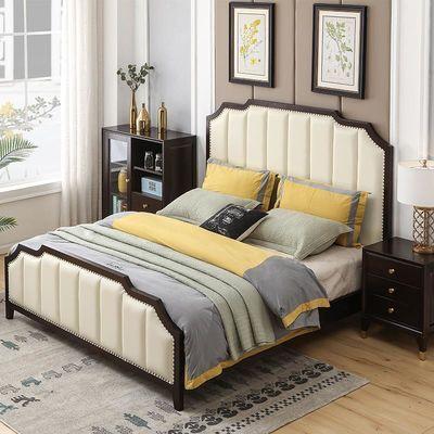 美式轻奢实木床1.5米1.8米主卧室单双人床真皮公主原木大床架白色