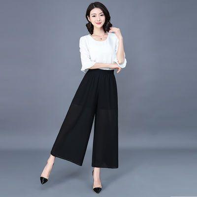 雪纺阔腿裤女夏季薄款高腰2020新款休闲九分裤女透气显瘦大码坠感