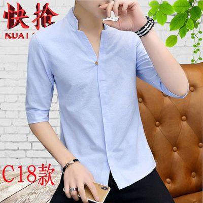 顺丰包邮【95%棉】夏季短袖衬衫男士韩版修身青少年中袖衬衣休闲