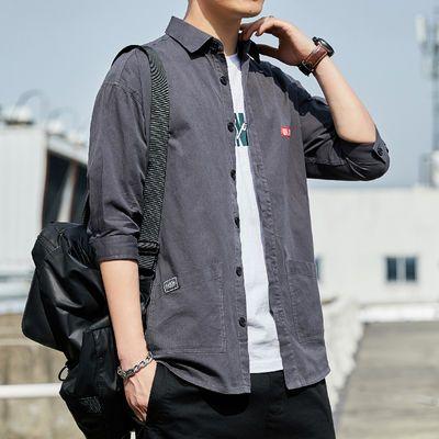 100%纯棉七分袖衬衫男韩版潮流短袖宽松上衣男士休闲衬衣工装外套