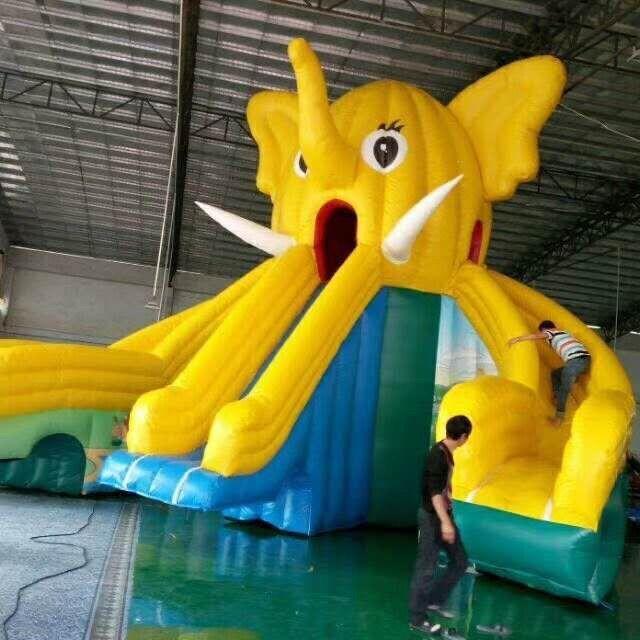 充气大象滑梯水上乐园游泳池支架水池闯关城堡跳床龙头滑梯气模