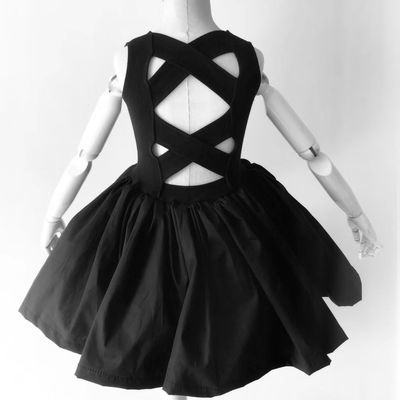 新款女童网红儿童个性时尚宝宝欧美复古气质露背中长款连衣裙潮款