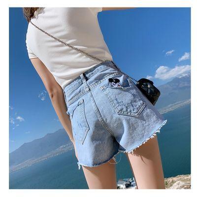 浅蓝色米奇牛仔短裤女夏季高腰显瘦2020新款宽松韩版毛边a字热裤