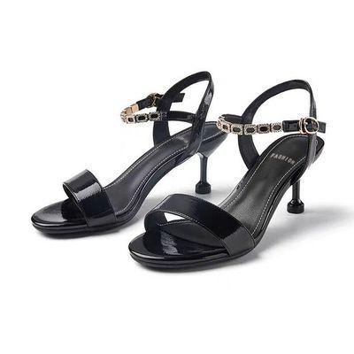 夏季休闲新款凉鞋女高跟鞋一字扣露趾性感女鞋简约百搭凉鞋细跟女