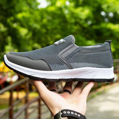 闰月网鞋男透气中老年运动鞋一脚蹬健步休闲鞋老北京布鞋父亲鞋子